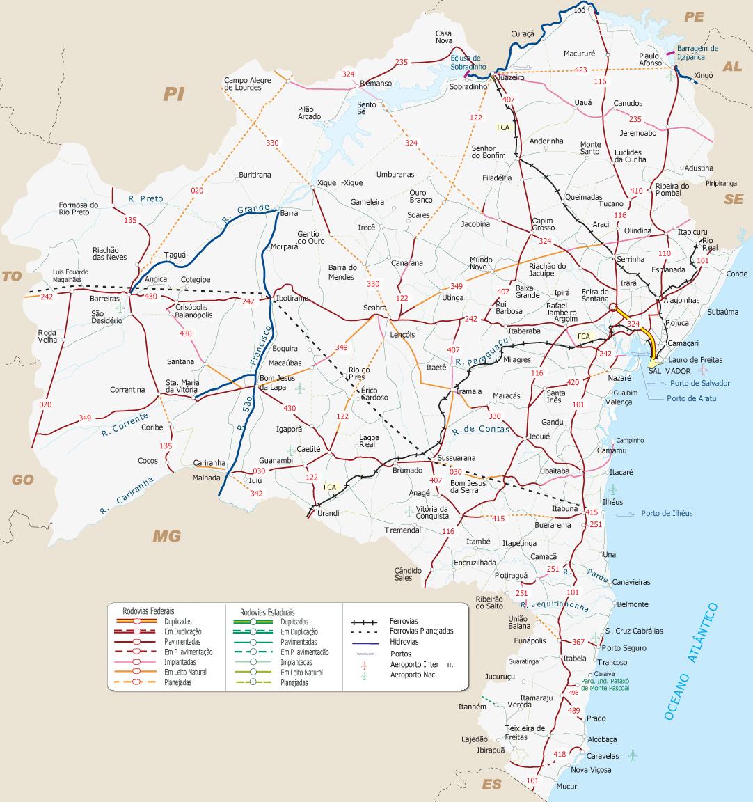 Mapa base: Ministério dos Transportes