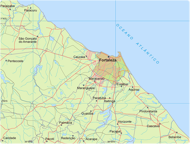 Mapa do Estado do Cear Cidades Principais e Rodovias