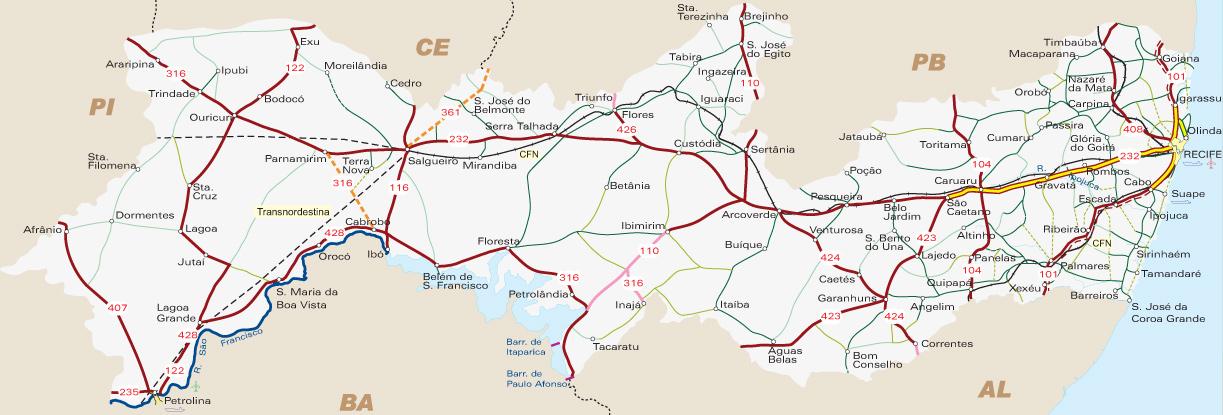Mapa Pernambuco