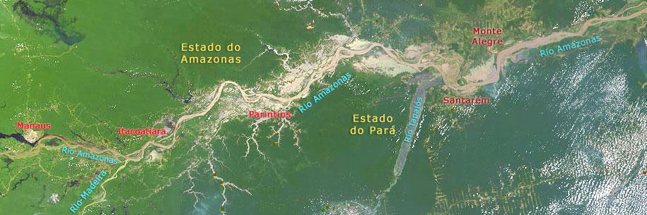 Rio Amazonas e Rio Negro - Imagem da NASA