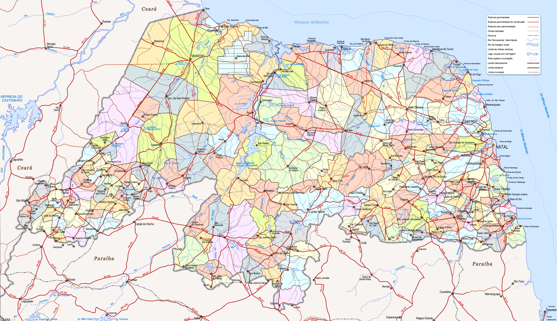 Rio Grande Mapa Fisico.Mapa Politico Do Rio Grande Do Norte