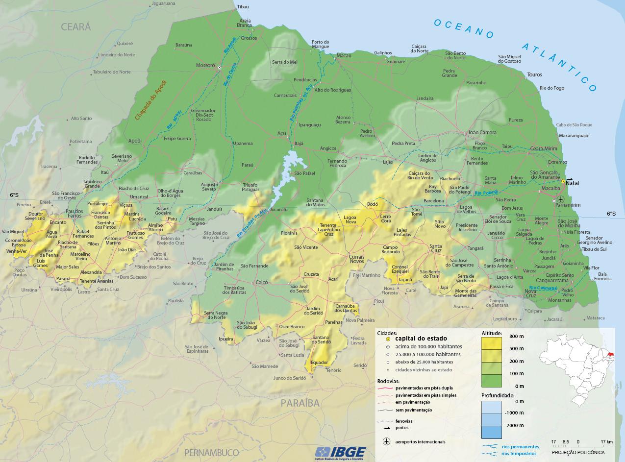 Rio Grande Mapa Fisico.Mapa Fisico Do Rio Grande Do Norte