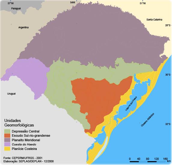 Rio Grande Mapa Fisico.Mapa Fisiografico Do Rio Grande Do Sul