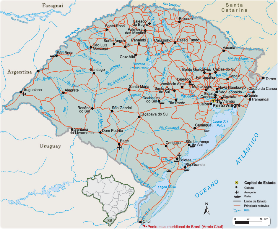 Rio Grande Mapa Fisico.Mapas Do Rio Grande Do Sul